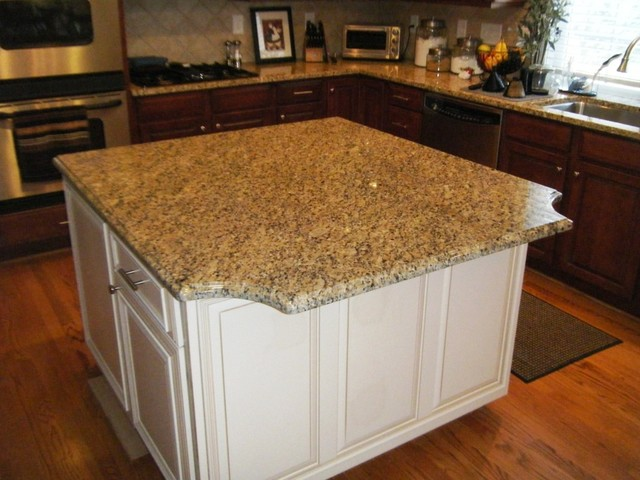 New Venetian Gold Granite With White Cabinets