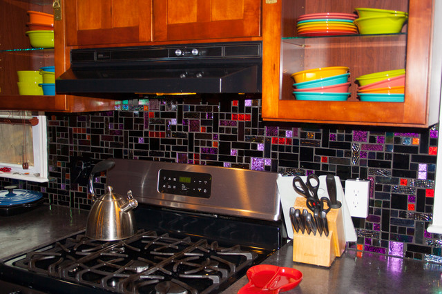 Multi colored glass tile backsplash