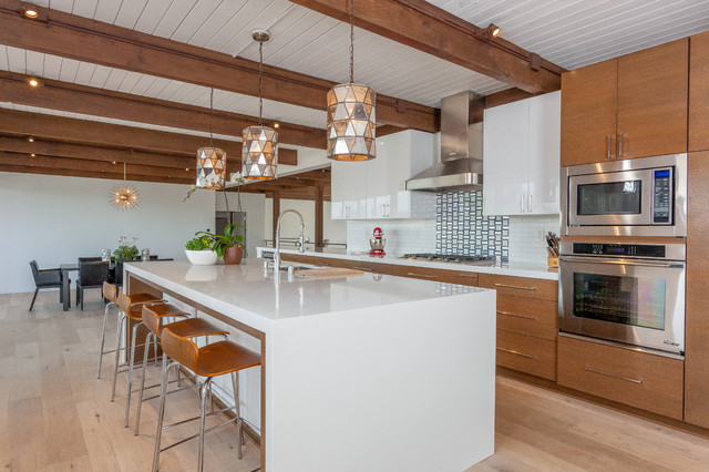 Inspiration For A Mid Sized 1950s Galley Light Wood Floor Open Concept  Kitchen Remodel In