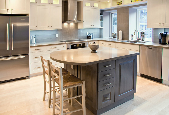Grey maple transitional kitchen toronto by aya kitchens and