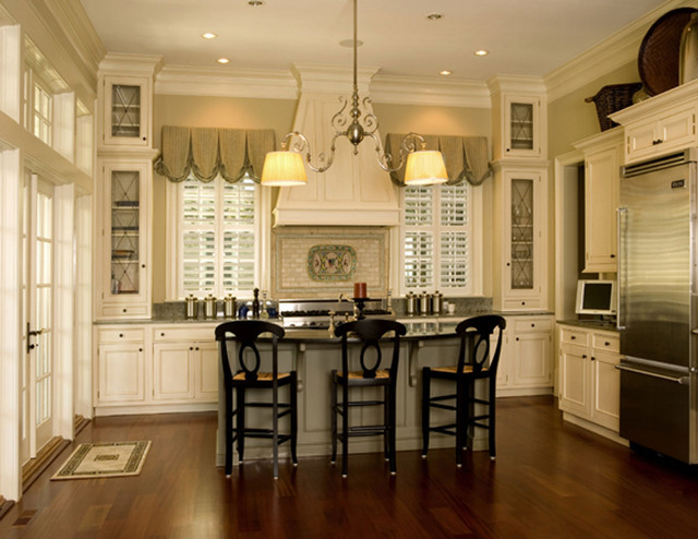Nice moldings accentuate interior traditional kitchen