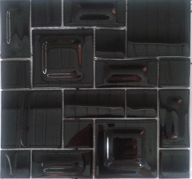 Night Black Blend Glass Mosaic Tile For Kitchen Wall