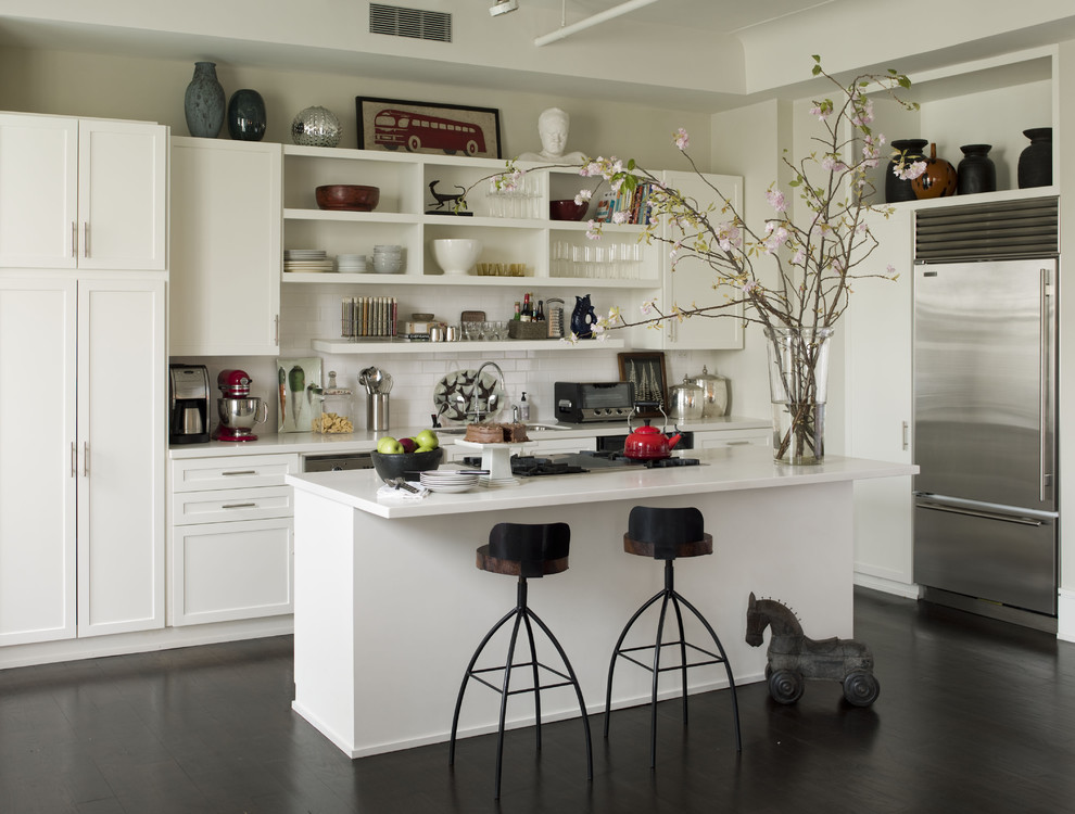 Inspiration for an eclectic kitchen remodel in New York with stainless steel appliances, subway tile backsplash, open cabinets, white cabinets and white backsplash
