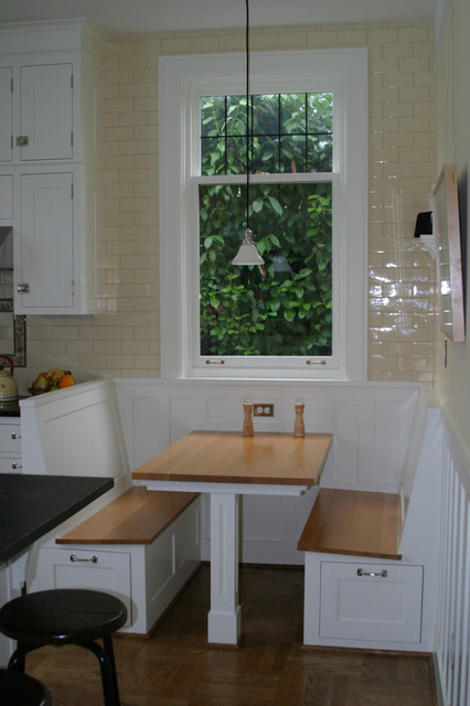 Nook without the plastic on the window traditional-kitchen
