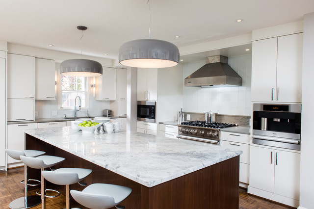 Trendy Kitchen Photo In DC Metro With Stainless Steel Appliances, Quartzite  Countertops, Flat
