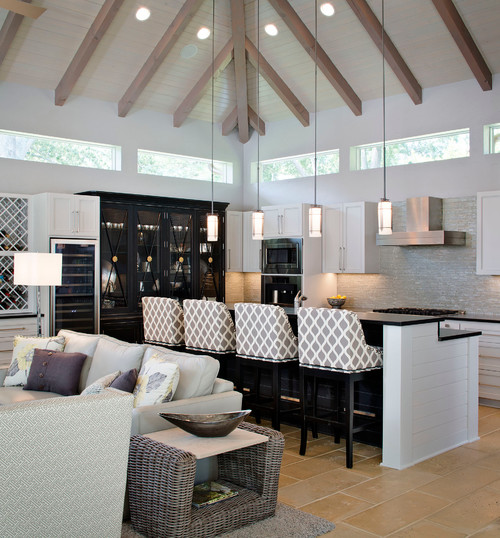 Big and open kitchen space with a modern appeal featuring four stools with a lattice back pattern design
