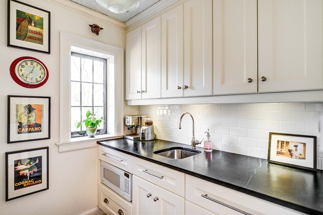 Backsplash Subway Tile Houzz - White kitchens with subway tile backsplash