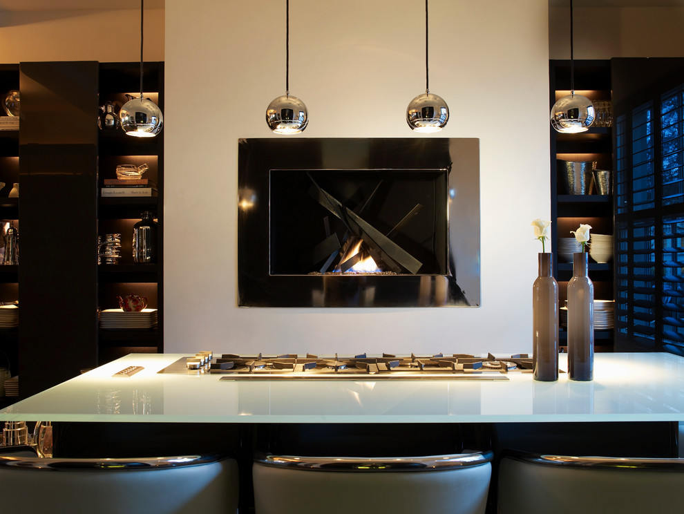 Inspiration for a contemporary open concept kitchen remodel in London