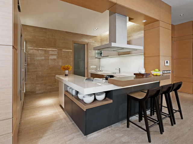 Trendy beige floor kitchen photo in Singapore with an undermount sink and a peninsula