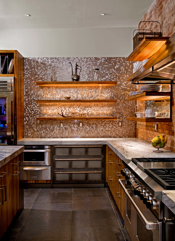 Trendy kitchen photo in Philadelphia with stainless steel appliances