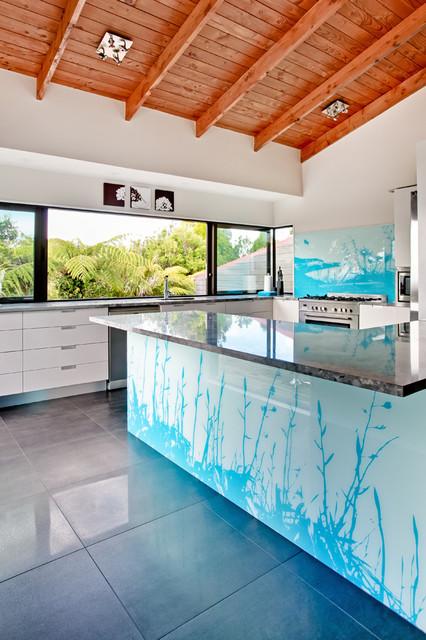 Nz Flax Bar And Kitchen Splashback Contemporary Kitchen