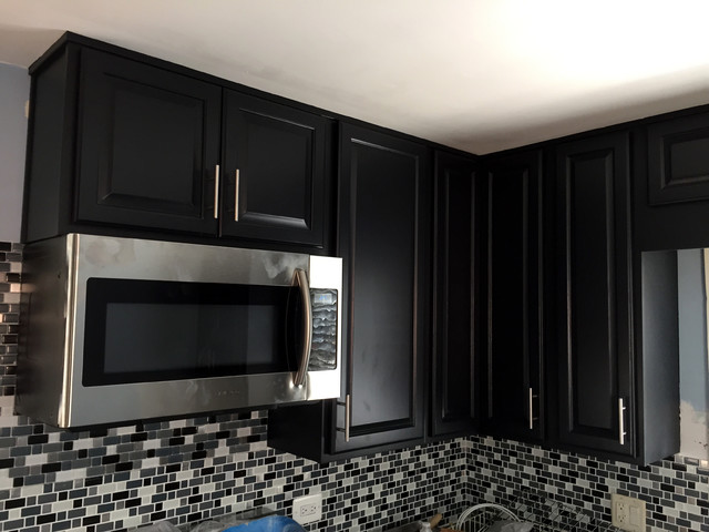 Oak cabinets refinished to espresso - Traditional ...