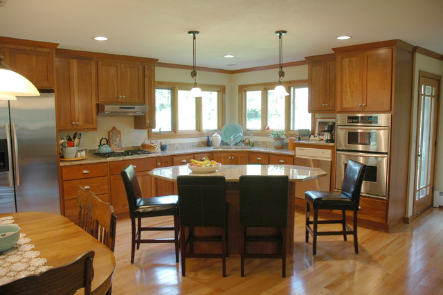 Oak, Cherry, and Granite Contemporary Kitchen with Center Island traditional-kitchen