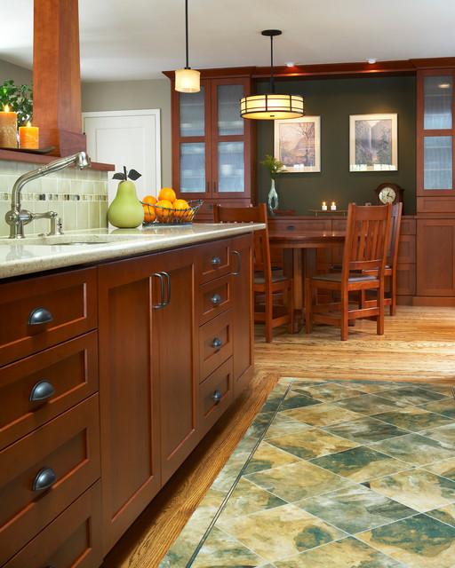 Traditional Kitchen Floor Tiles: Oak Hardwood With Vinyl Tile Inset