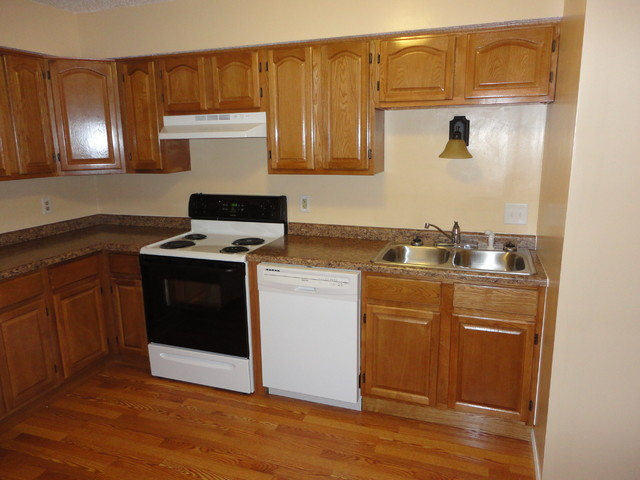 Oak kitchen cabinets apartment remodel traditional for Apartment kitchen cabinets