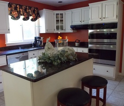 Oak kitchen cabinets painted white. - Traditional - Kitchen ...