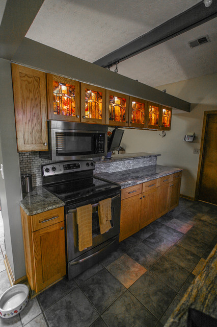 Oak Kitchen With Stained Glass Inserts Traditional