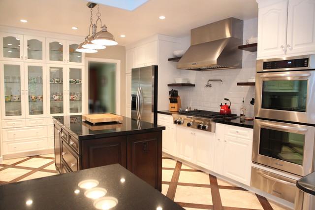 Oak to White Transformation traditional-kitchen