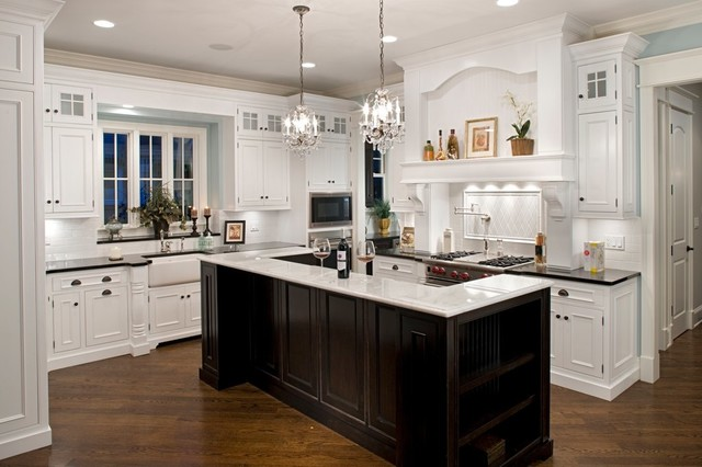 Black And White Traditional Kitchen white cabinets, black granite - an ideabookellie shine