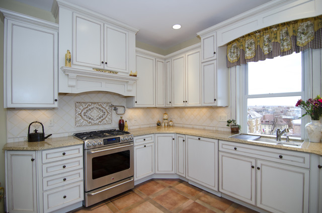 Off white delight traditional kitchen dc metro by for Merillat white kitchen cabinets