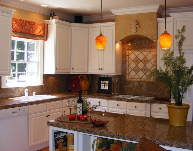 Off white kitchen cabinets with stone backsplash
