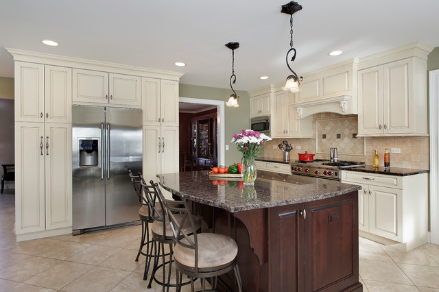 White Kitchen Dark Island off white kitchen with dark island - barrington, il - traditional