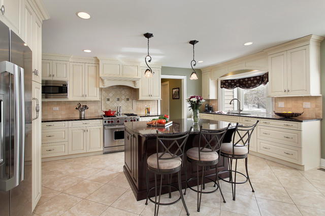 Off white kitchen with dark island barrington il for Dark kitchen cabinets with light island
