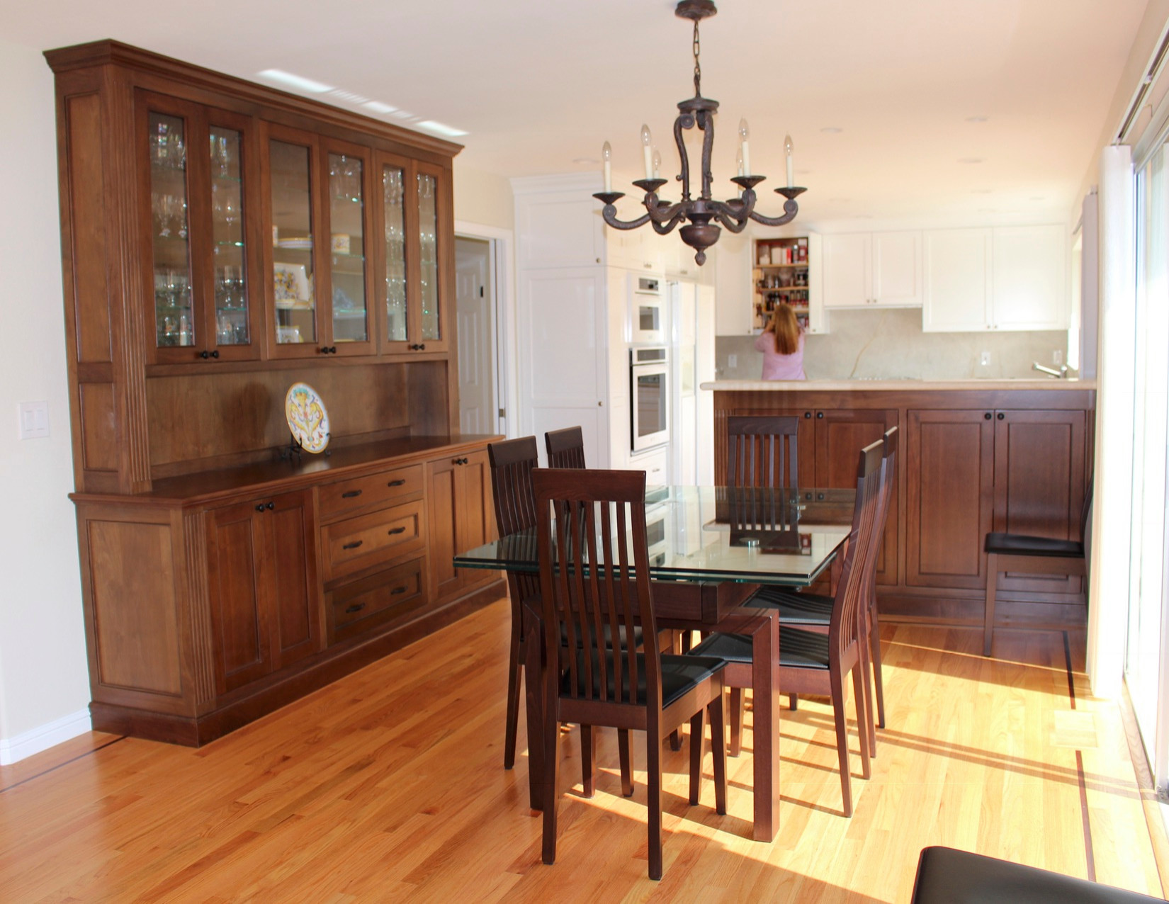 Off White Kitchen with Walnut Hutch and Bar