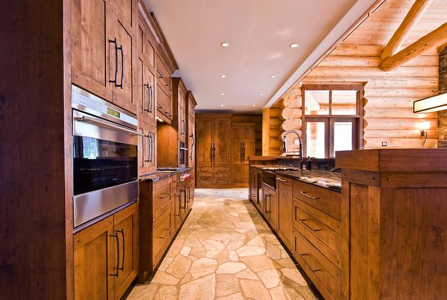 Okanagan Log Home rustic-kitchen