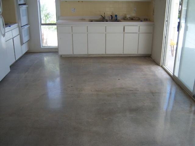 Old concrete slab polished modern kitchen orange for Concrete craft colorado springs