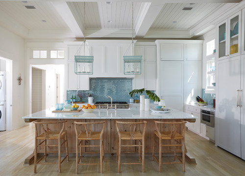 White kitchen featuring aquatic colors