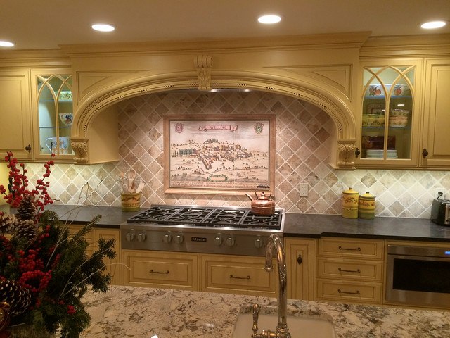Old World Cartography Avellino Italy Custom Painted Backsplash Tile Mural Kitchen By Hand