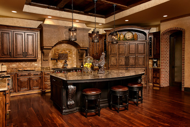 Old world charm cabinets custom wood products traditional kitchen kansas city by custom Old world tuscan kitchen designs