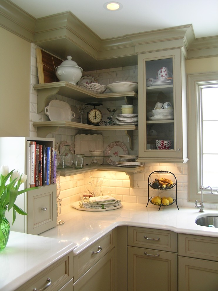 Example of a classic kitchen design in Newark with open cabinets, an undermount sink, green cabinets, quartz countertops, white backsplash and stone tile backsplash
