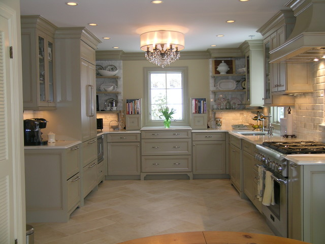 Old world elegance meets today's today's contemporary space requirements traditional-kitchen