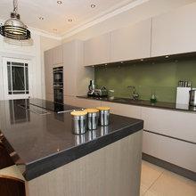 Olive green kitchen splashback