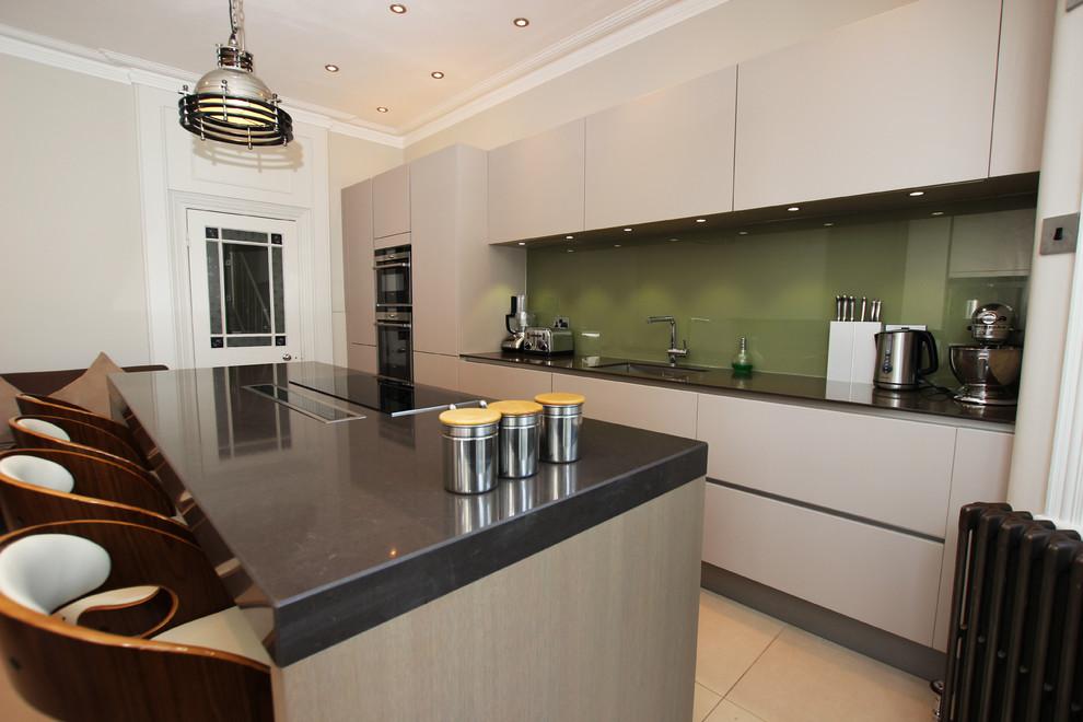 Olive Green Kitchen Splashback Contemporary Kitchen London