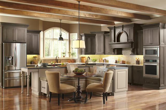 Omega Gray Beige Kitchen Cabinets Traditional Kitchen