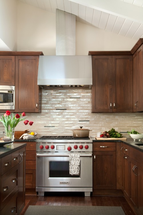 Dark Wood Shaker Kitchen Cabinets