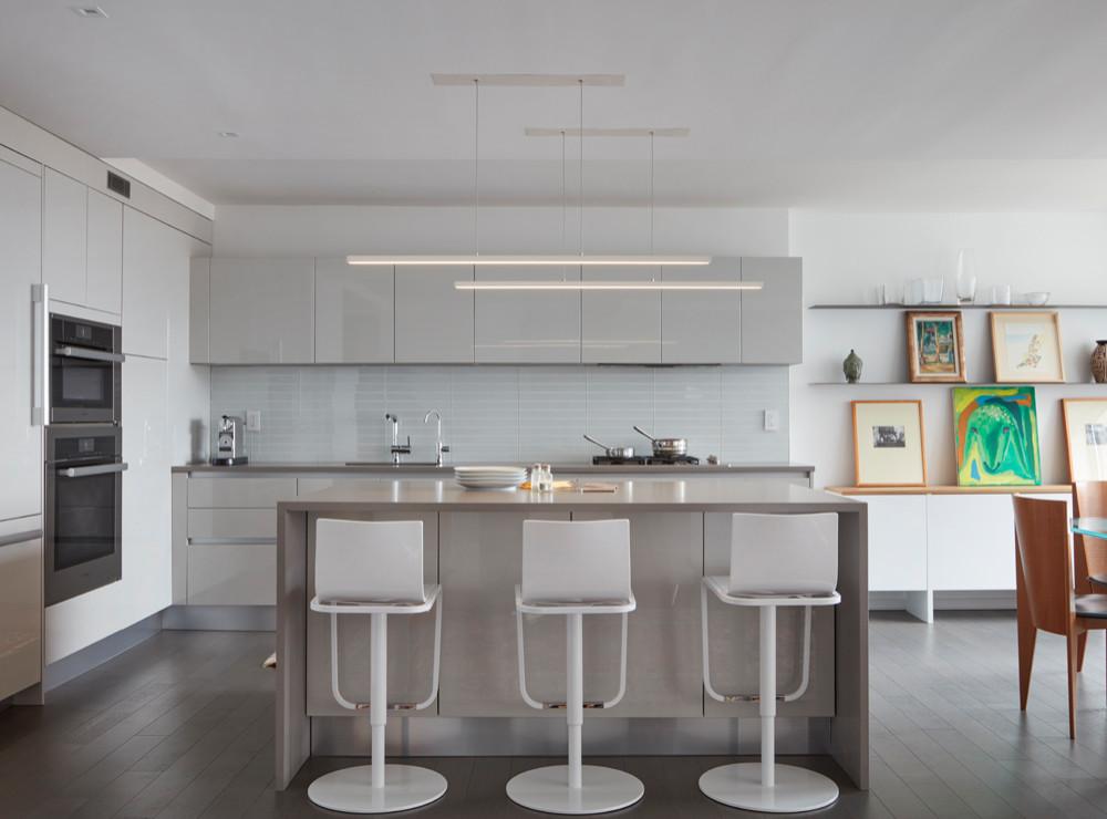 Open All White Modern Kitchen   Apartment Gut Renovation