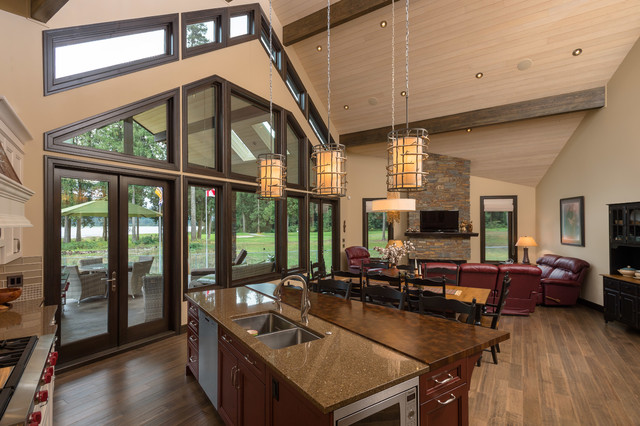 Open concept family room with vaulted ceilings for Rustic concept