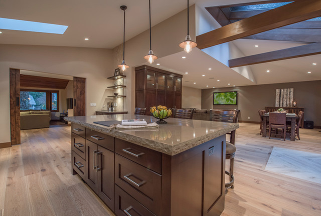 open concept floor plan with vaulted ceilings rustic