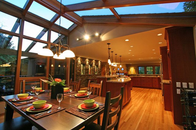 kitchen connected to sunroom dinning area traditional