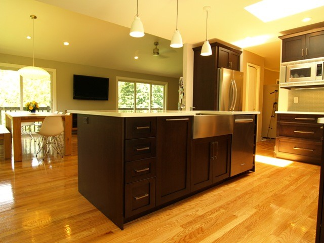 Open floor plan with large center island transitional for Kitchen center island plans