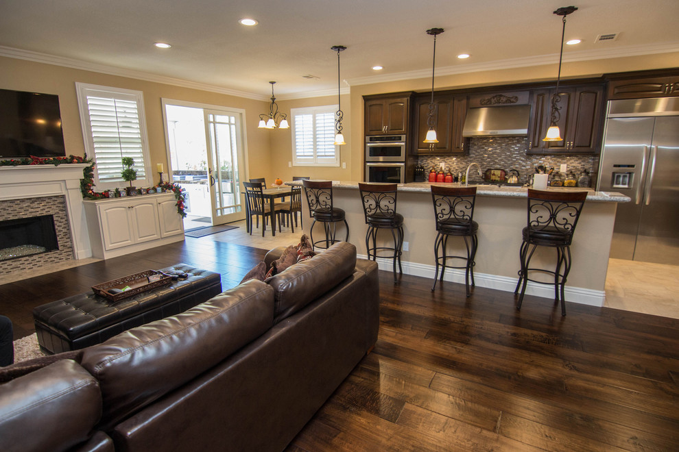 Open Concept Kitchen and Family Room - Transitional ...