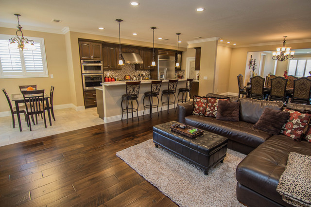 Open concept kitchen great room and dining transitional for Kitchen great room