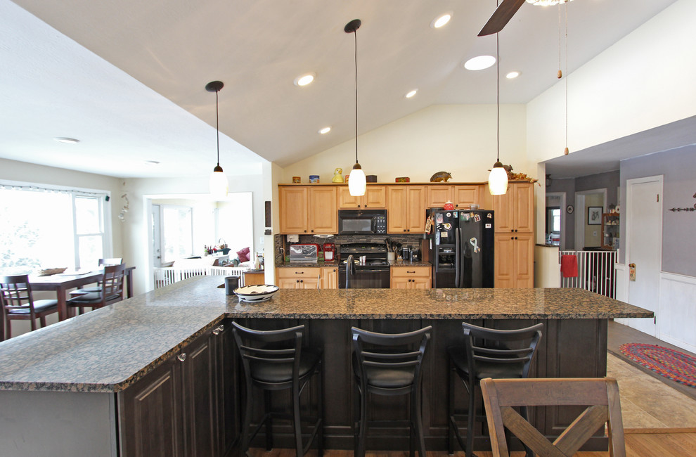 Open Concept Kitchen with Vaulted Ceiling and Waypoint ...