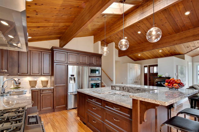 Open Concept Kitchen With Vaulted Wood Ceiling