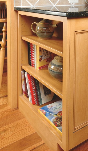 Open cookbook shelves in cabinet end traditional for Traditional kitchen shelves
