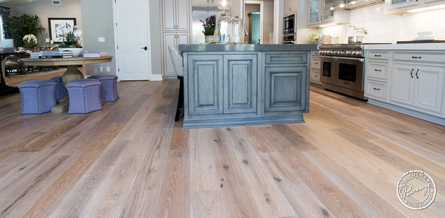 Open floor plan kitchen oldworld fawn hardwood flooring for Old world floors
